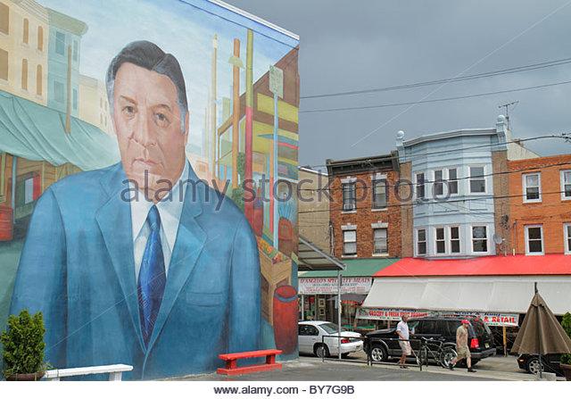 Philadelphia Pennsylvania South Philly South 9th Street Little Italy Italian Market public art mural immigrant ethnic - Stock Image