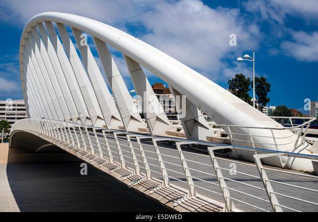 Exposition Bridge or Puente de la Exposicion by architect Santiago Calatrava, Valencia, Spain - Stock Image