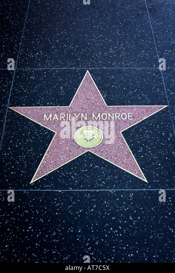 Marilyn Monroe Star on walk of fame Hollywood Los Angeles - Stock Image