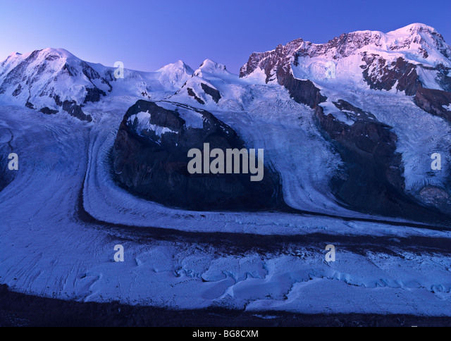 Switzerland, Valais, Zermatt, Gornergrat,peaks of Mount Rosa, Liskamm, and Breithorn and the Gorner Glacier - Stock Image