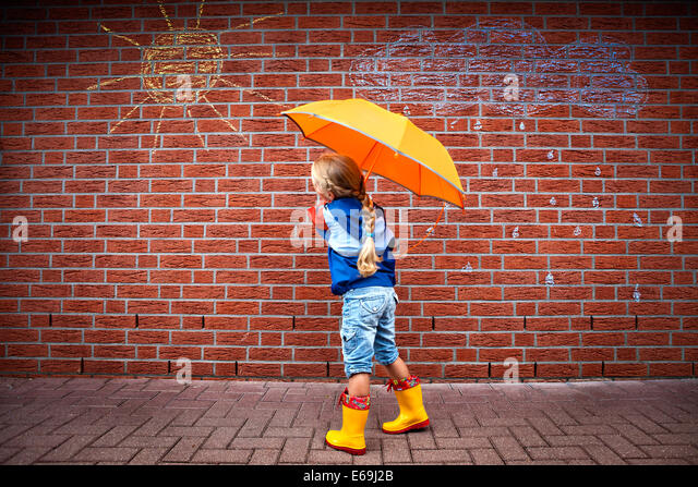 girl,weather,rain protection - Stock Image