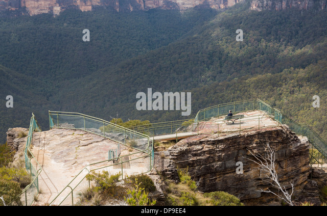 Pulpit Rock Lookout viewpoint in the Blue Mountains, New South Wales, Australia - Stock Image