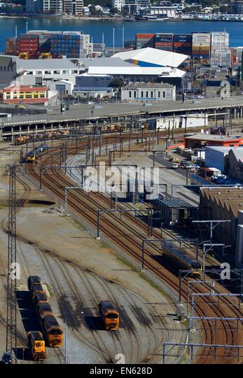 Trains and railway lines, Wellington, North Island, New Zealand - Stock Image