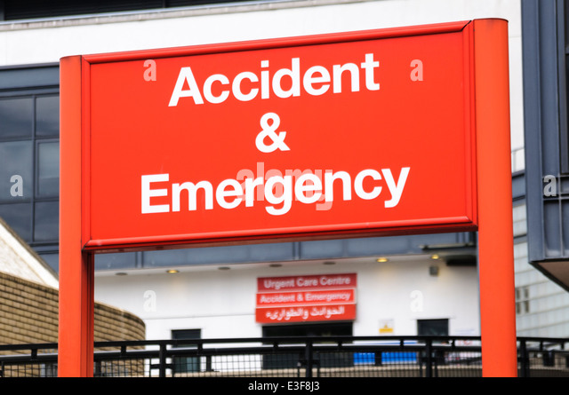 Accident and Emergency sign at St Mary's Hospital, London - Stock Image