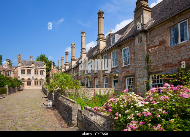 Vicar's Close, dating from the 14th century, the oldest surviving purely residential street in Europe, Wells - Stock-Bilder