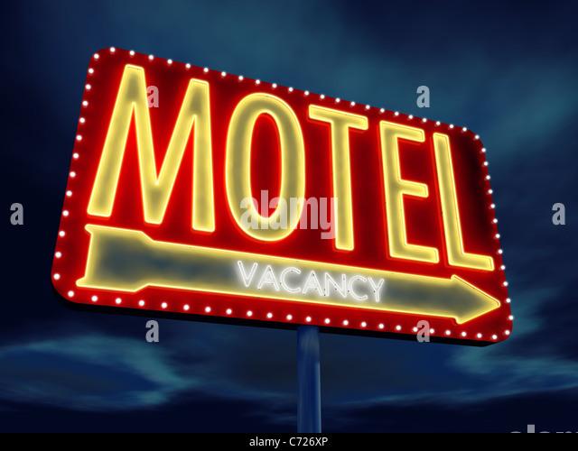 Motel neon sign at dusk , 3d illustration - Stock Image