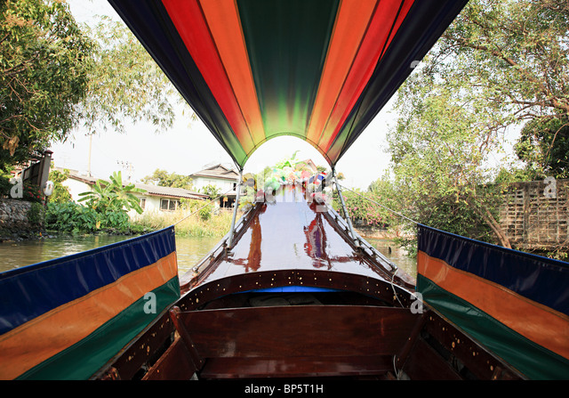 Boat on canal in bangkok - Stock Image