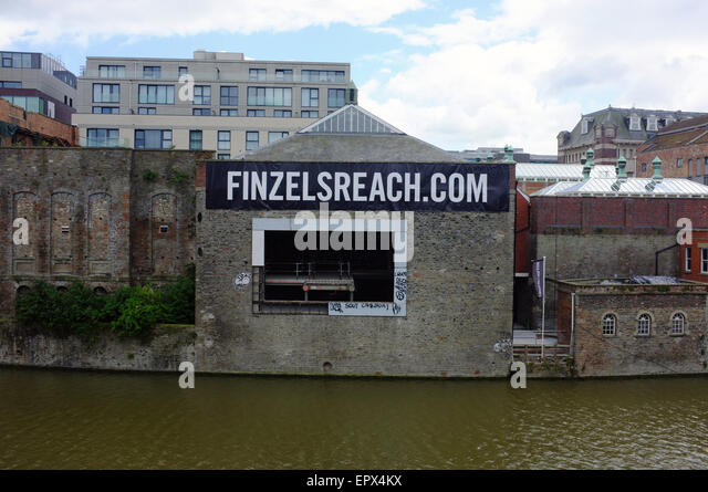 A banner for the Finzels Reach development project in Bristol. - Stock Image