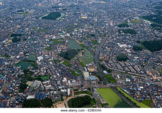 Aerial view of Pity Misasagi surroundings of relations, Fujiidera City - Stock Image