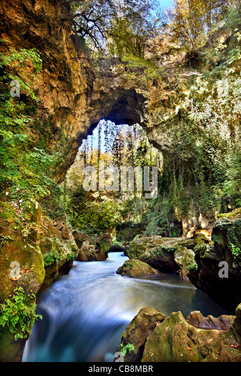 Theogefyro (it means 'God's bridge' or 'Holy bridge'), a true natural wonder, close to Lithino - Stock Image