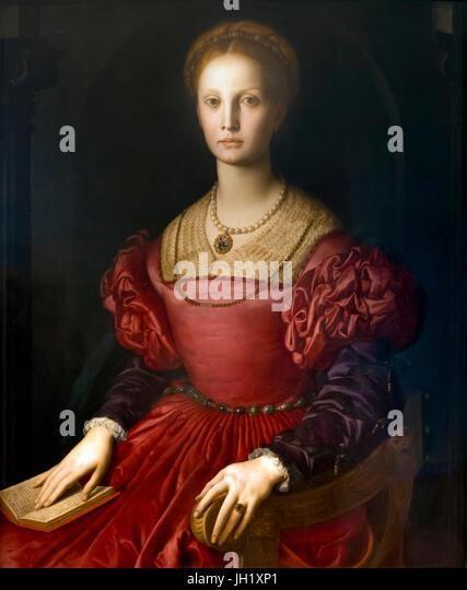 Portrait of Lucrezia Panciatichi, by Agnolo Bronzino, 1540-1, Uffizi Gallery, Florence, Tuscany, Italy, Europe - Stock Image