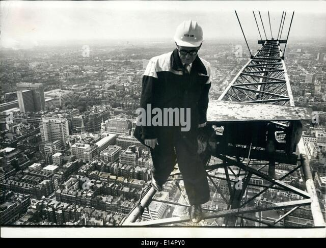 Apr. 18, 2012 - Ski-High Jim - The Man At The Top: With sure feet and a cool head, Jimmy Wheelan gets down to work - Stock Image