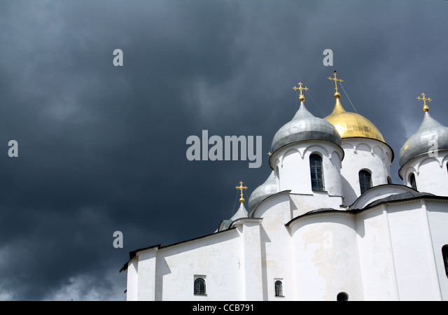 christian orthodox church on cloudy background - Stock-Bilder
