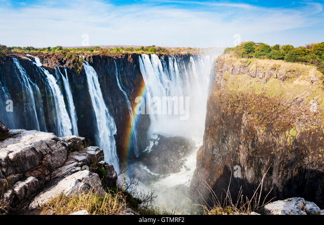 View of the Victoria Falls in Zimbabwe, Africa; Concept for travel in Africa - Stock-Bilder