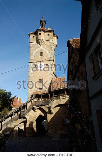 fortified Klingentor gate tower in Rothenburg ob der Tauber - Stock Image