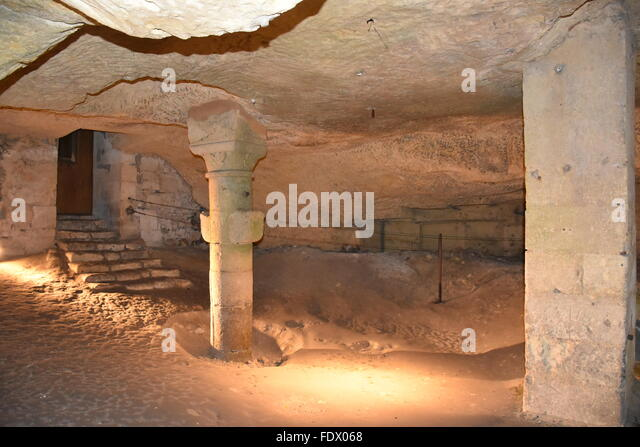 Catacombs of the Eglise Monolithe in Saint Emilion (Gironde, 33) France - Stock Image