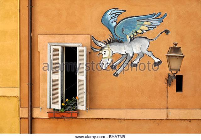 Comic wall painting of a winged donkey, Pegasus, Rome, Lazio, Italy, Europe - Stock Image