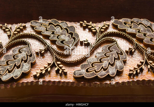Block printing, woodblock with pattern made of metal, Bad Aussee, Styria, Austria - Stock Image