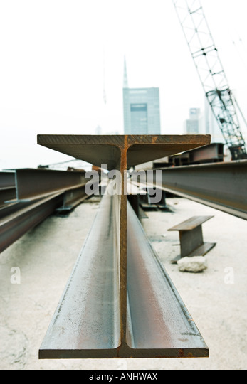 Metal beam in construction site, close-up - Stock Image