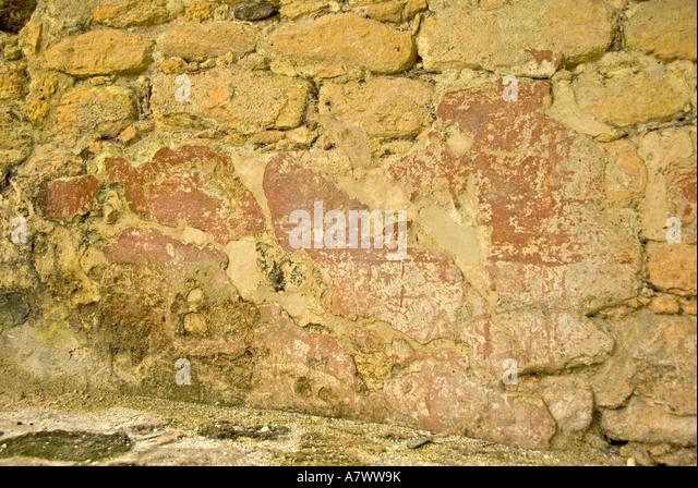 Costa Maya Mexico Chacchoben Mayan ruin original red color pigment - Stock Image