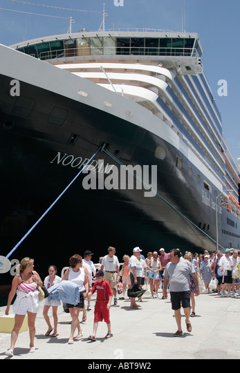 BVI Tortola Road Town Holland America Caribbean cruise ms Noordam dock passengers excursion - Stock Image