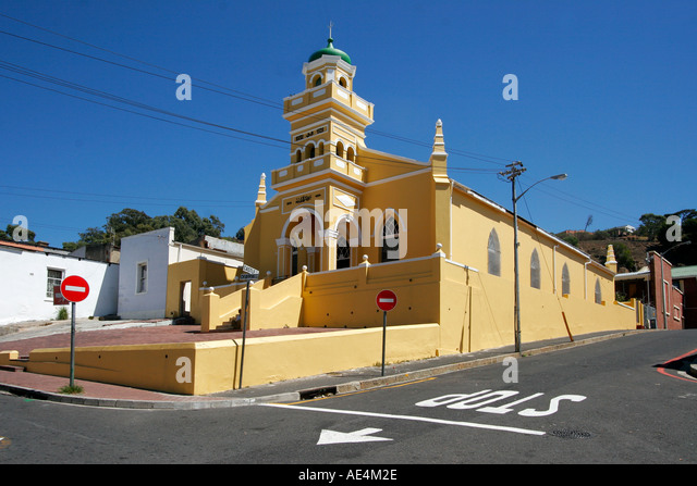 cape town Bo Kaap colorful facades in area of cape muslims church - Stock Image