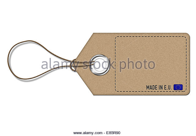 Made in EU - empty price label - Stock Image