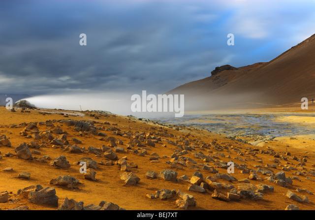 Solfatara fields at Namaskard, Iceland - Stock Image