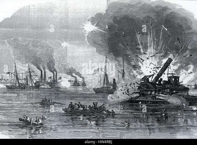 U.S.S. WESTFIELD EXPLODES in Galveston Bay, Texas, 1 January 1893 during the American Civil War - Stock-Bilder