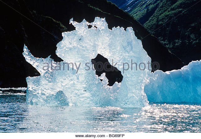 Alaska. Tongass National Forest. Artistic round iceburg in Tracy Arm. - Stock-Bilder