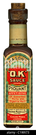 Mason's 'OK' sauce bottle, c. 1915 - one of the first products to appropriate the American abbreviation - Stock Image