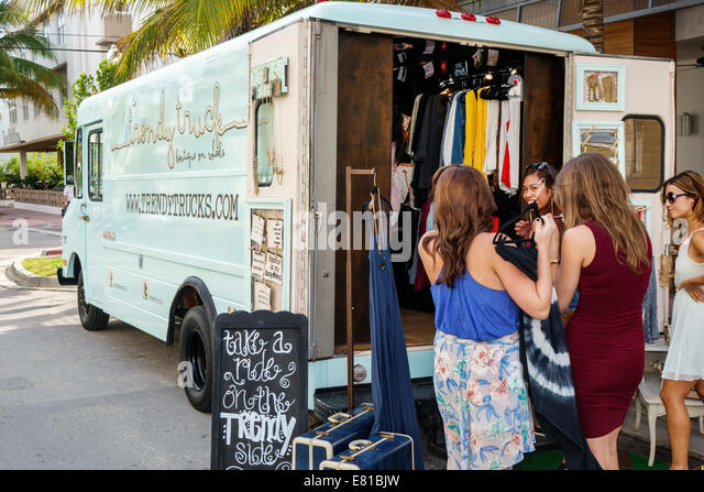Miami Beach Florida Ocean Drive pop-up store Trendy Truck fashion women's clothing vintage shopping - Stock Image