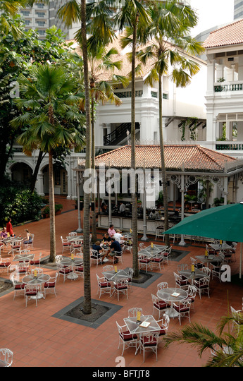 Raffles Hotel, View over Terrace Bar, Singapore - Stock Image