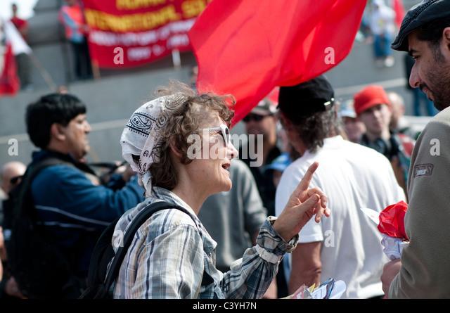 Trafalgar Square Anti-Cuts Occupation, London, UK - Stock Image