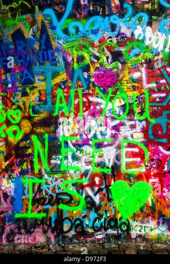 Graffiti on part of the John Lennon Wall in Prague, Praha, Czech Republic,?eská Republika,Europe - Stock-Bilder