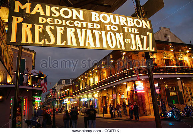 New Orleans Louisiana French Quarter Bourbon Street New Orleans Louisiana French Quarter National Historic Landmark - Stock Image