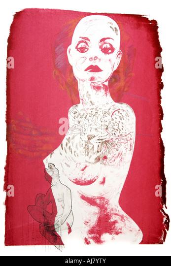 Photograph of screen print artwork based on a shop window display mannequin. Artist: Andrea Borosova. - Stock Image