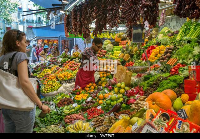 The famous St Joseph Food Market - Eixample district of Barcelona - Catalonia region of Spain - Stock Image