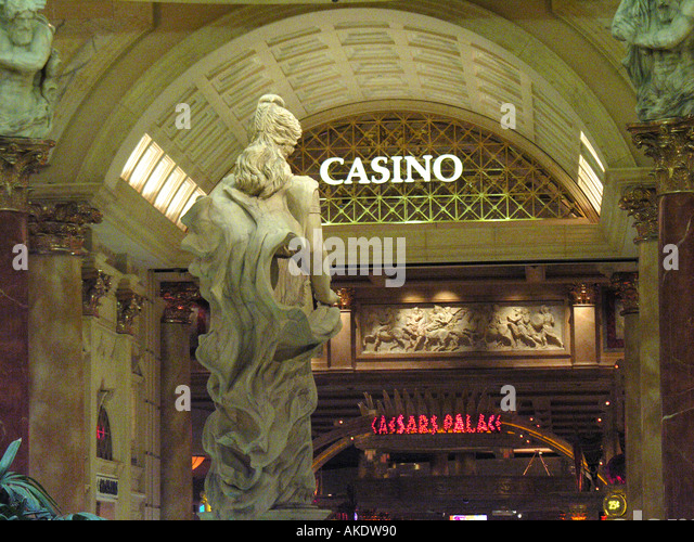 Las Vegas Nevada Las Vegas strip Caesars Palace roman statue at casino entrance - Stock Image