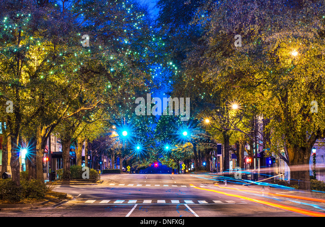 Downtown Athens, Georgia, USA night scene. - Stock Image