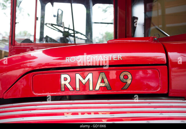 A red London Routemaster bus - Stock Image
