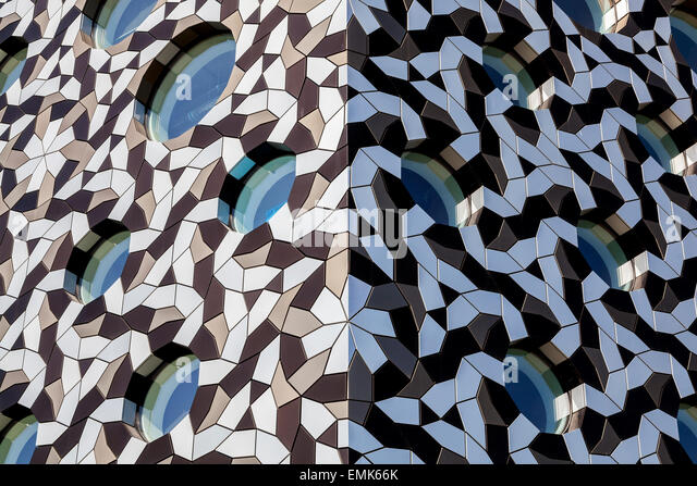 Detail of the facade of the Ravensbourne College of Design and Communication, Greenwich, London, England, United - Stock Image