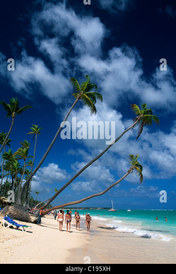 Huts, palm beach Playa Bavaro near Punta Cana, Dominican Republic, Caribbean - Stock Image