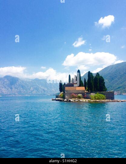 Monastery Island in Montenegro Bay of Kotor - Stock Image