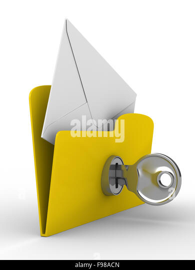Yellow computer folder with mail on white background. Isolated 3 - Stock Image