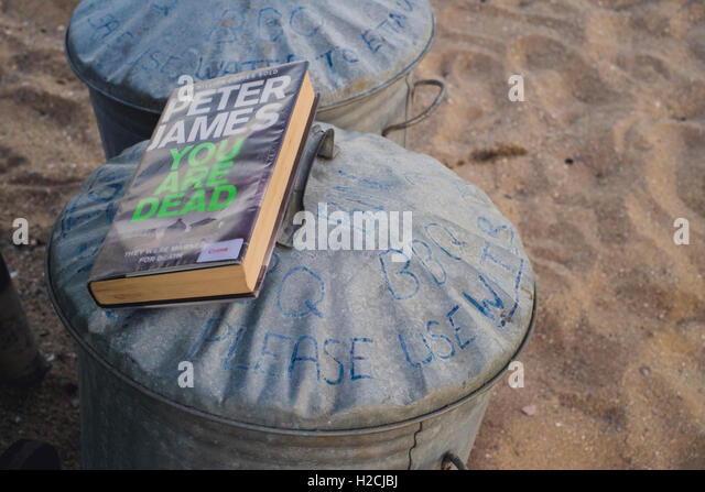 A library book left on top of the bar be que waste bins at Gyllyngvase Beach, Falmouth - Stock Image