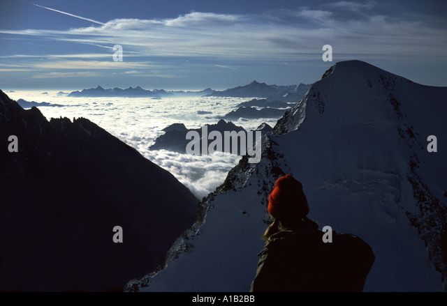 Aiguille de Tré la Tête from the Dômes de Miage, Mont Blanc massif, French Alps, France - Stock Image