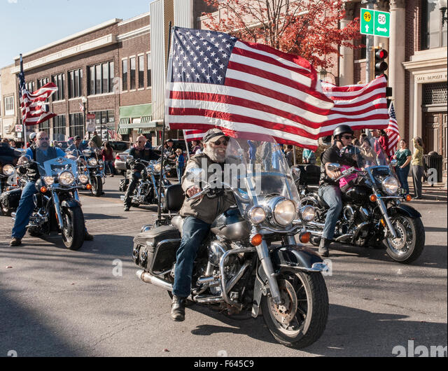 Emporia, Kansas, USA. 11th November, 2015. Veterans Day Parade in Emporia, Kansas the town that originally started - Stock Image