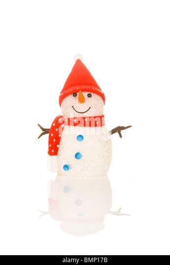 A smiling toy snowman reflected against a pure white (255rgb) background. - Stock Image
