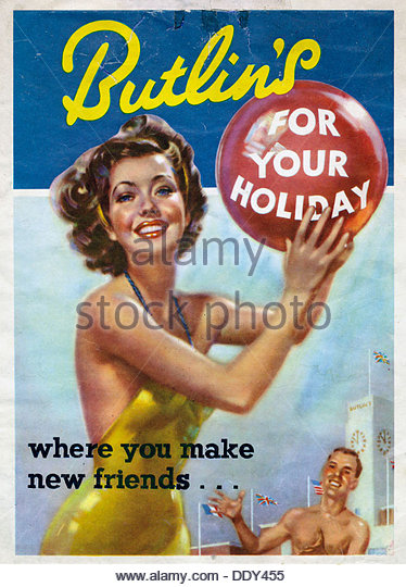 Butlins holidays advert, 1961. - Stock-Bilder